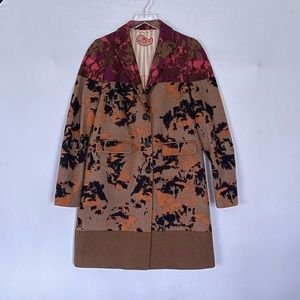 Abstract Floral Ikat Wool Coat Etro 40